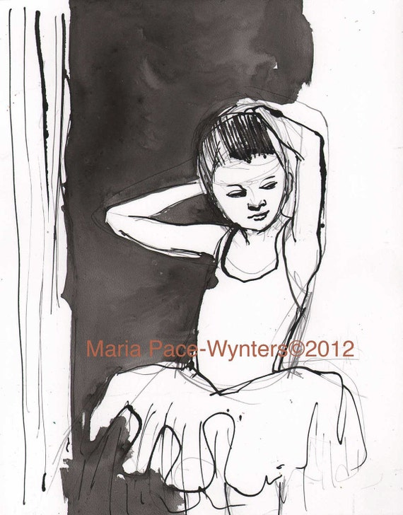 Ballerina Fixes Her Hair- Original pen and ink drawing by Maria Pace-Wynters