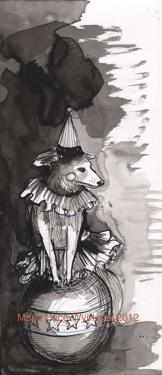 One Circus Dog- Original pen and ink drawing by Maria Pace-Wynters