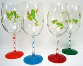 ONE Tree Frog Wine Glass - painted glass - personalized wine glass