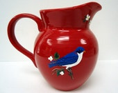 Blue bird Pitcher - painted glass ceramic