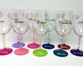 Personalized Wine Glasses-hand painted wine glass - Wedding glass - bridsmaid gifts