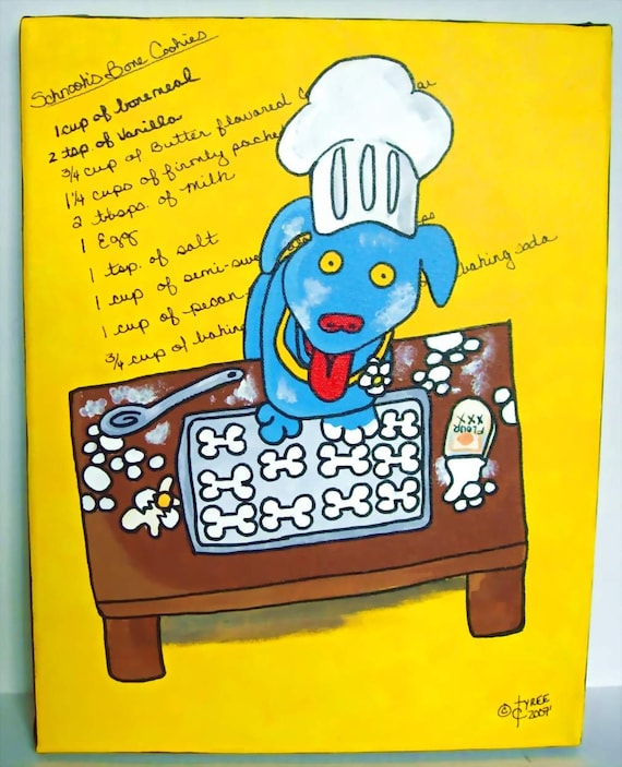 Baker Dog Painting- Schnook - Chef blue dog bakes dog bone cookies original painting