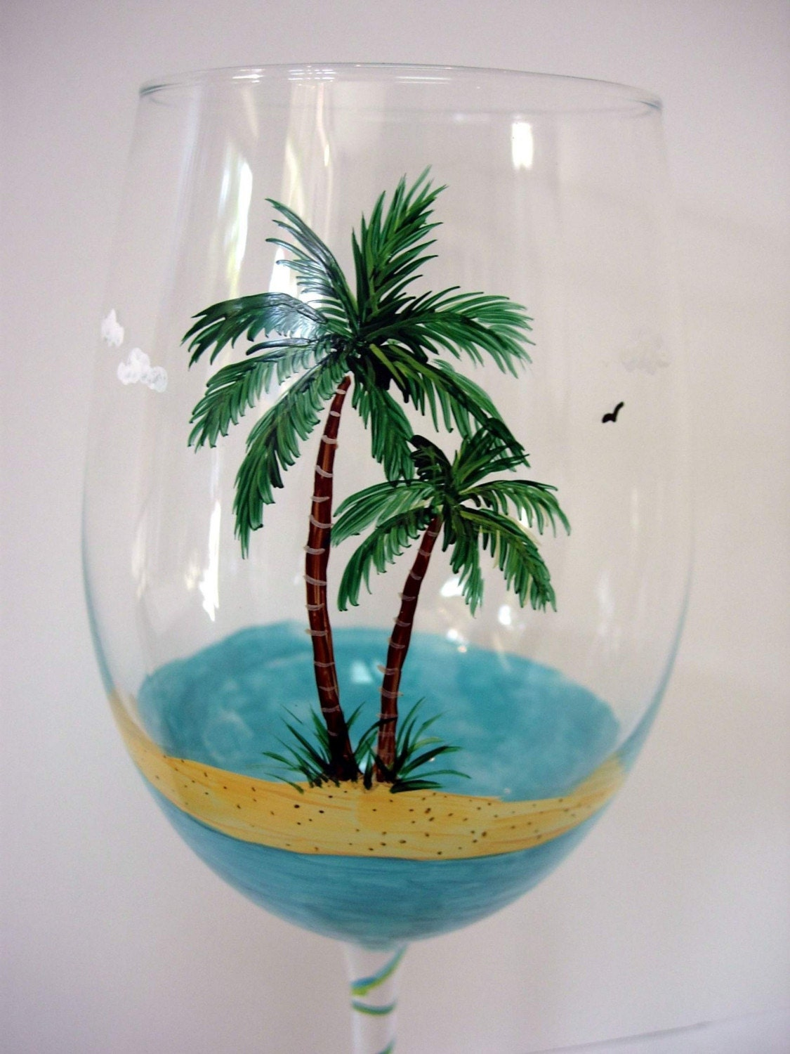 Glass Art Sand And Palm Trees