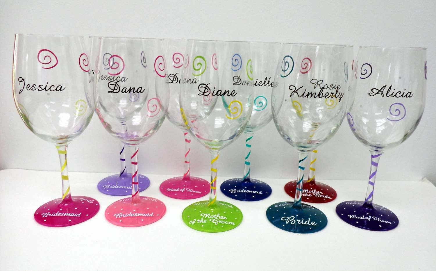 Personalized Wine Glasses Hand Painted Wine Glass Wedding