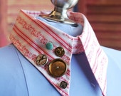 Detachable Collar Vintage Buttons Red and White