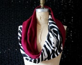 Infinity Scarf Cowl Pink and Zebra