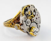 17 Ruby Jeweled Watch Component Rhinestone Brass Floral Steampunk Ring