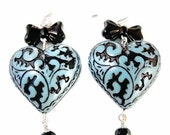 Turquoise Blue Green Black Scroll Heart Black Bow Ties Black Dangle Earrings