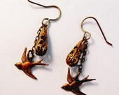 Vintage Filigree Antique Brass Sparrow Bird Charm Dangle Earrings