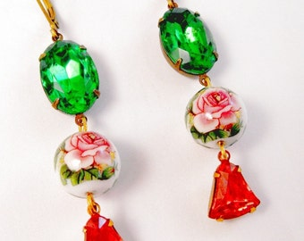 Beautiful Tensha Round Bead with Vintage Pink Glass and Green Glass Earrings