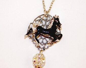 Black Silver Horse Silver Ox Filigree Rhinestone Ball Necklace