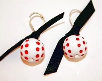 Red Dot White Ball Black Bow Silver Leverback Earrings