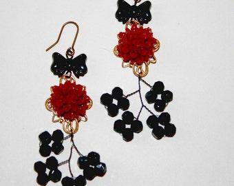 Glammy Burgundy Rose Earrings