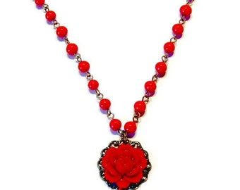 Red Rose Brass Necklace