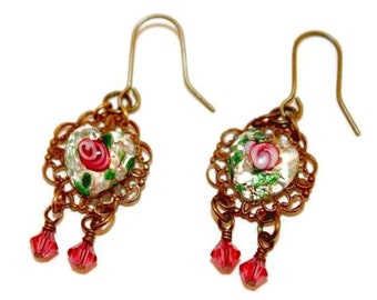 Pink Rose Glass Heart Filigree Pink Wrapped Drop Brass Ox Earrings