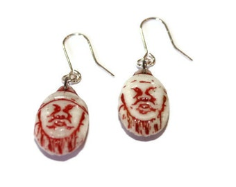 Old Czech Glass Emperor/Mongol Head in Red on Smooth Sterling Silver French Ear Wires RARE
