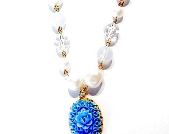 Celluloid Blue Roses Baroque Pearls Crystals Baby Blue Glass Bead Necklace