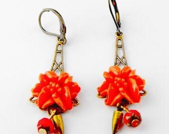 Beautiful Coral Flower Rose Vintage Filigree Fun Dangle Earrings