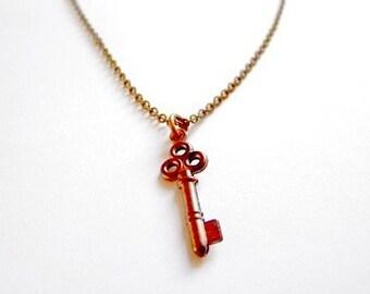 Tiny Delicate Key Brass Ox Necklace