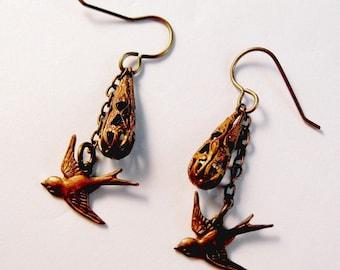 Vintage Filigree Antique Brass Sparrow Bird Charm Dangle Earrings