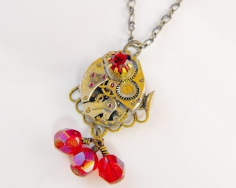 Wonderful Ruby Red Rhinestone Czech Glass Faceted Drop Steampunk Necklace