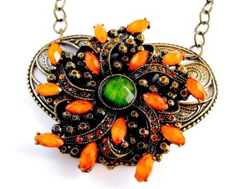 Exotic Orange Marquise Round Green Rhinestones Stunning Necklace