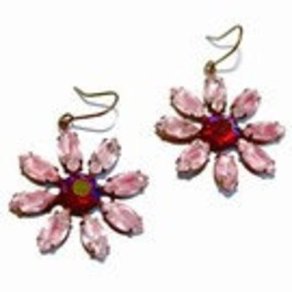 RARE Pink Burgundy Rhinestone Flower Earrings