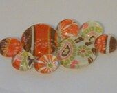 EARTHY PAISLEYS AND STRIPES Marble Magnet Set