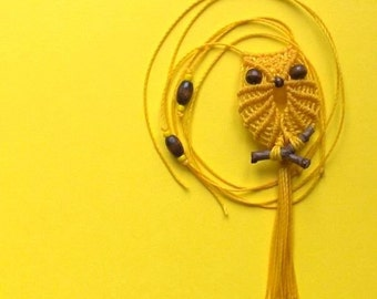 Yellow Macrame Owl Pendant Necklace, Textile Jewelry, Hippie Adjustable Necklace, Women, Micro Macrame, Gifts Under 15, Long Cute Necklace