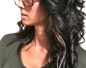 SALE Black LONG 6 Feather Hair Extension - Salon Grade Whiting Feathers : FREE micro link clamp