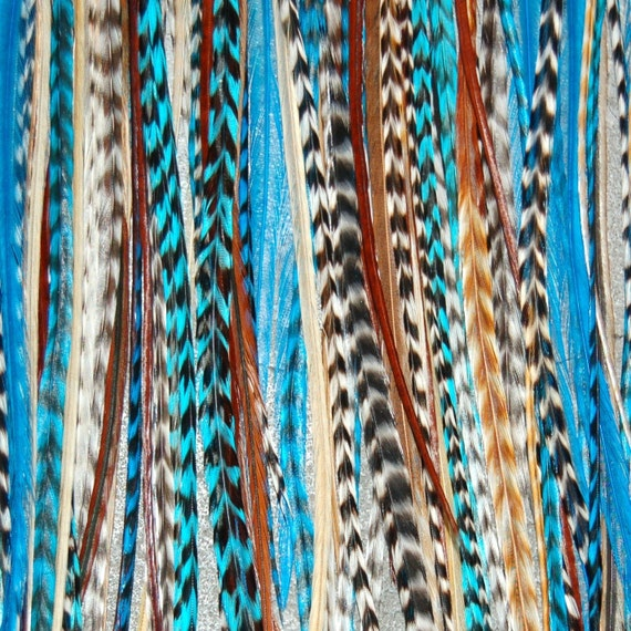 SALE Turquoise Blue 6 Feather Hair Extensions LONG - Bonded or loose  : FREE micro link clamp 100% Real Feathers