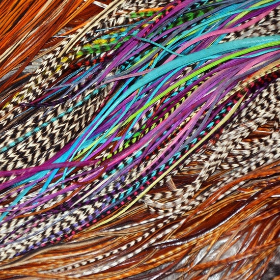 Hair Feather Extension 30 Extra Long Hair Feathers Kit : BEST FEATHERS - Salon Grade Whiting Free Links HUGE wholesale Mix
