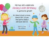 Dancing Kids Invitation for Birthday Party - Hip Hop Disco Karaoke