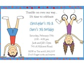 Gymnastics Kids Tumblers Invitations: You Pick Boy/Girl Twins, Boy Only, or Girl Only