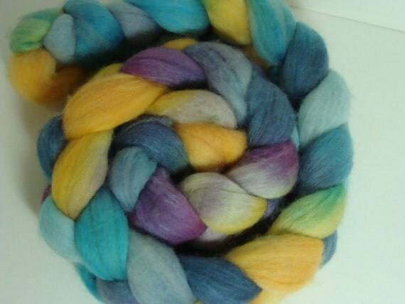 SALE Merino Silk Top for Spinning Mulberry Blue Turquoise and a Hint of Yellow GALAXY