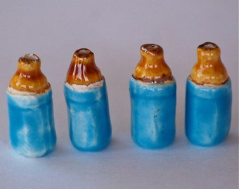 SALE  7x15mm Blue Baby Bottle Peruvian Clay Beads (2) CLA17
