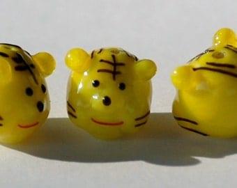 11mm YELLOW TIGER HEAD Figurine Bead (2 Beads) LAMP9