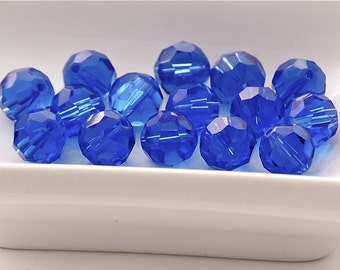 10mm Transparent Light Cobalt Blue Faceted Crystal Round Beads (10) CHI14