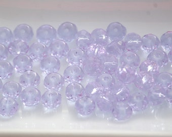 4x6mm Transparent LIGHT PURPLE Faceted Crystal Rondelle Beads (50) CHI74