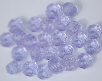 8x6mm Transparent LIGHT PURPLE Faceted Crystal Rondelle Beads (24) CHI75