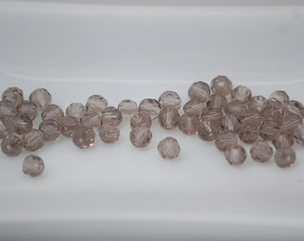 4mm Transparent SMOKY QUARTZ Faceted Crystal Round Beads (50) CHI4