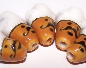 18x13mm Porcelain CHEF Head Beads (8 Beads) PC1