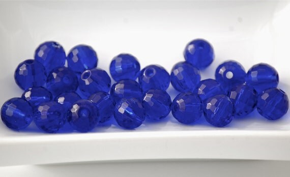 8mm Transparent Cobalt Blue Faceted Crystal Round Beads (15) CHI26