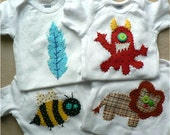 Choose ANY Four Applique Onesies or Shirts Custom Sizes and Colors