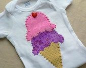 Ice Cream Applique Onesie or Shirt Custom Size and Colors