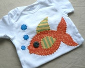 Fish Applique Onesie or Tee You Choose Size and Colors