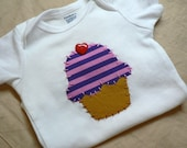 Cupcake Applique Onesie or Tee Shirt Custom Size and Colors