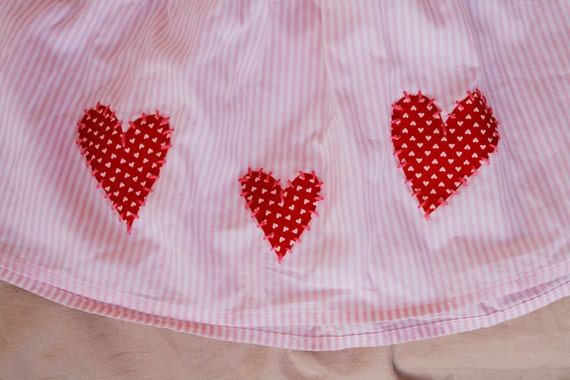 SALE Valentine Pink and White Stripe Skirt With Hearts 24 month