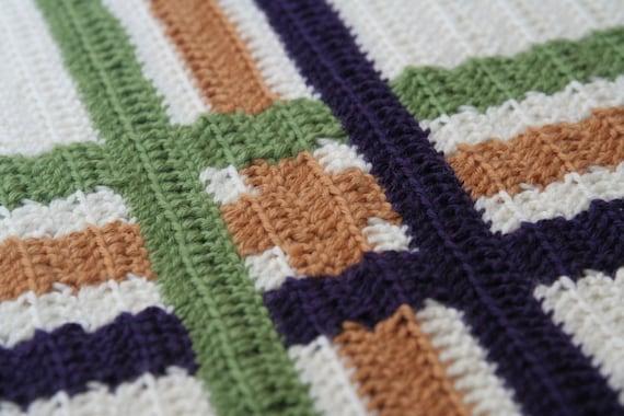 Crochet Pattern--Modern Plaid Throw
