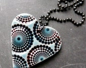 Porcelain Necklace - Zillions of Dots Heart in Red and Teal